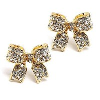Fashion Crystal Pave Bow Ribbon Stud Earrings Gold CL: Jewelry: Amazon.com