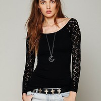 Free People Rib & Lace Scoopneck