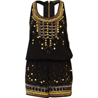 Black embellished racer back romper