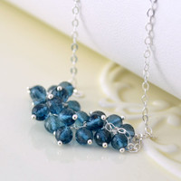 NEW London Blue Topaz Necklace, Genuine AAA Gemstone Cluster, Deep Teal, December Birthstone, Sterling Silver Jewelry, Free Shipping