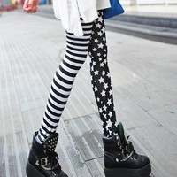 Black White Stripe Star Women Leggings at Online Apparel Store Gofavor