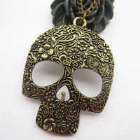 SKULL necklace---antique bronze BIG flower skull pendant & alloy chain