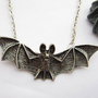 necklace---antique silver BIG 3d bat pendant&amp;alloy chain