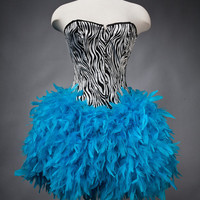 Custom Size Zebra corset with full Turquoise feather skirt
