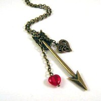 Bronzed Arrow Necklace Jewelry With Heart Charm And Red Heart Glass Bead | Luulla