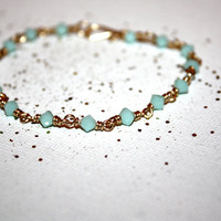 mentha - mint gold bracelet by lilla stjarna - gifts under 50 - wirewrapped jewelry - gold bangle, charm bracelet, green