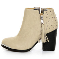 MTNG Fullu Off White Studded Ankle Boots - $77.00
