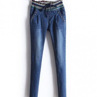 Ethnic Drawstring Waist Denim Trousers