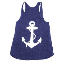 Happy Family Nautical Anchor American Apparel Racerback Tank Top: Clothing