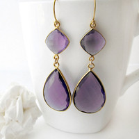 Purple Blue Iolite Double Drop Earrings, September Birthstone, Grape, Gold Vermeil, Bluish Violet