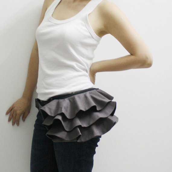 KINIES Ruffled Waist Purse in Gray Fanny Pack / Hip Bag by Kinies