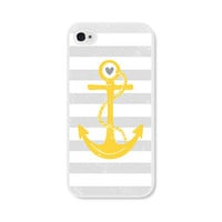 Striped Anchor iPhone 4 Case - Plastic iPhone 4 Case - Nautical iPhone Case Skin - Mustard Yellow Grey White Cell Phone