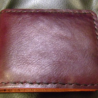 SALE plum purple leather man's wallet  handmade