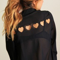 Hearts Cut Out Blouse from Fashion4you