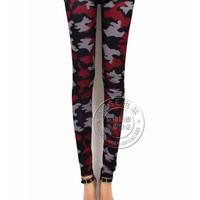 FREE SHIPPING Black and Red Camouflage Graffiti Women Leggings LSJR318