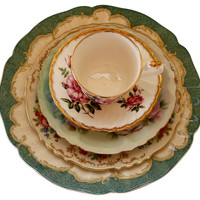 One Kings Lane - The Floral Table - Green & Pink China Place Setting, 5 Pcs
