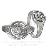 Sterling Silver Crescent Moon Pentacle Pentagram Ring Moonstone | Dryad Design
