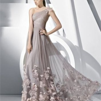 A-line Silver One Shoulder Flowers Floor Length Dress