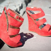 Lulifa-1 Coral Strappy Platform Wedge - Shoes 4 U Las Vegas