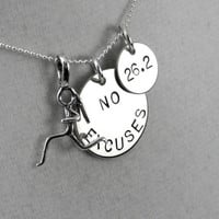 NO EXCUSES Runner Girl DISTANCE - 16 inch Sterling Silver Necklace - Choose 5k, 10k, 13.1 or 26.2 - Runner Necklace