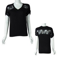 Ladies fashion tabbed short sleeve v-neck top w/lace detail - id.20366