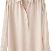Cream Beige Chiffon Silk Shirt by goodnightmacaroon - Chictopia