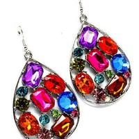 Multi Color Gem Tear Drop Earrings by shawtynstilettos - Chictopia