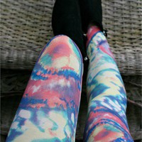 Cosmic Galaxy Space Tie Dye Print Leggings by Fashioncasuals - Chictopia