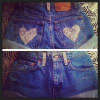 High waisted Levi's shorts Lace Hearts  by AngeliqueMerici on Etsy