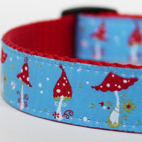 Dainty Blue Mushrooms  Dog Collar / 3/4 inch width / Adjustable