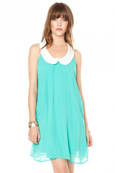 Mignon Chiffon Peter Pan Dress in Jade - ShopSosie.com