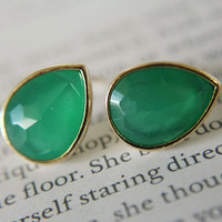 Bridesmaids Jewelry Green Opal Stud by anatoliantaledesign on Etsy