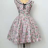 vintage 1950s printed day dress with velvet trim [Figaro Bistro Dress] - $128.00 : ADORED | VINTAGE, Vintage Clothing Online Store