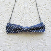 bow tie necklace  navy blue with polka dots by sewlola on Etsy