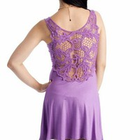 crochet back tank dress $31.70 in CORAL JADE PURPLE - Casual | GoJane.com