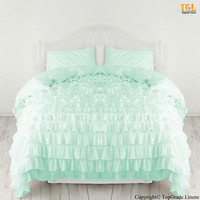 New 1000TC Egyptian Cotton Waterfall Ruffle Duvet Cover - choose size and color