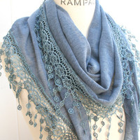Lace Scarf   Women Fashion Scarfs FREE SHIPPING Dark Grey Lace Scarf Trendy Spring  Fashion Neckwarmer  - By PIYOYO