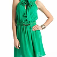 belted pussy bow dress $31.70 in CORAL GREEN - Casual | GoJane.com