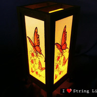 Butterfly and Flower Mulberry Paper Lantern Oriental Style for home decorate (Converter plug included)