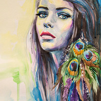 """Peacock Girl  watercolor  painting print 8"""" x 12"""" Forest green, Fuchsia pink, Fluorescent yellow"""