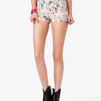 Rose Print Denim Shorts