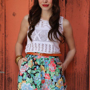Vintage 80's adorable FLORAL high waisted MINI skirt by EverybodysBuyingVtg - Chictopia