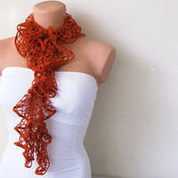 Brick Color Funky Ruffle Scarf by fairstore on Etsy