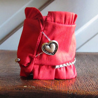 RESERVED - Red Silk Fabric Cuff Bracelet