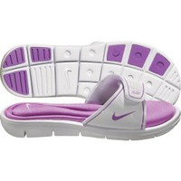 Nike Women&#x27;s Comfort Slide - White/Purple | DICK&#x27;S Sporting Goods
