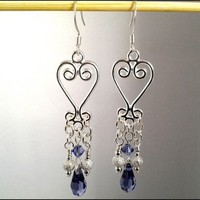 Silver Plated Fancy Heart Amethyst Crystal Tear Drop Dangle Earrings