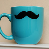 Mustache Mug Teal/Turquoise Coffee Tea Latte by TheBeautifulHome
