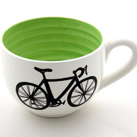 Bike Mug large for Soup or Coffee Lovers White with by LennyMud