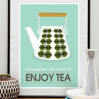 Art for Kitchen Art Tea art print kitchen poster mid by handz