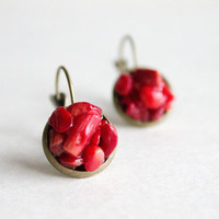 Red Coral brass earrings - Mother's day earrings